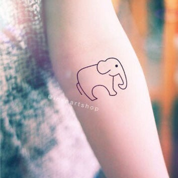 2pcs Elephant Trunk Down outline tattoo - InknArt Temporary Tattoo - wrist quote body sticker fake tattoo anchor love tattoo small