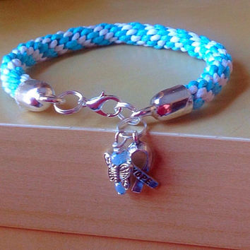 Blue & White Braided Awareness Bracelet-Kumihimo-Friendship Rope Bracelet-Prostate Cancer-Adrenocortical carcinoma-Twin to Twin Transfusion