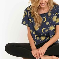 Minkpink Midnight Sky Cropped Pyjama Tee in Navy - Urban Outfitters