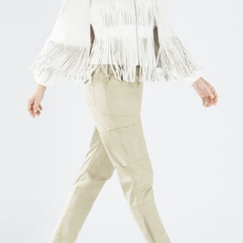 Brown BCBG Jonah Faux-Suede Fringe Cape