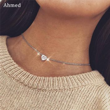 Ahmed Vintage Shiny Crystal Love Heart Pendant Statement Chain 2018 Necklace for Women Fashion Collar Jewelry Lover Gifts