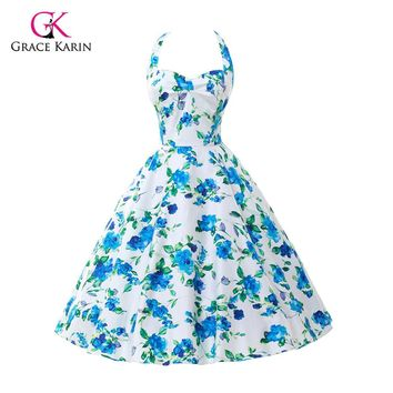 2017 Plus Size Womens clothing New Summer Style 50s Vintage pin up 60s Cocktail dresses Rockabilly Retro Floral print Party gown
