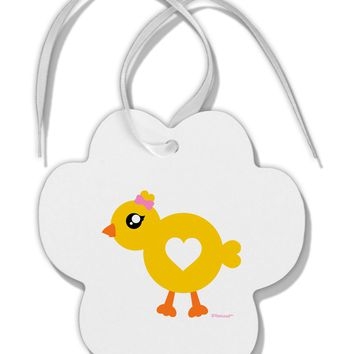 Cute Chick with Bow Paw Print Shaped Ornament by TooLoud
