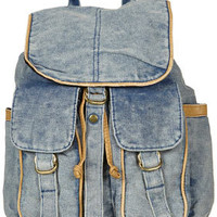 Blue Acid Wash Backpack - Backpacks - Bags & Purses  - Accessories