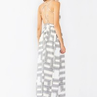 In A Maze Print Open Back Maxi Dress