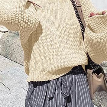 Beige Crew Neck Long Sleeve Chic Women Knit Sweater