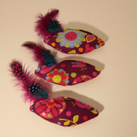Set of 3 Cat Toys, Fish Shaped, Natural Feather and Organic Catnip - Bright Floral