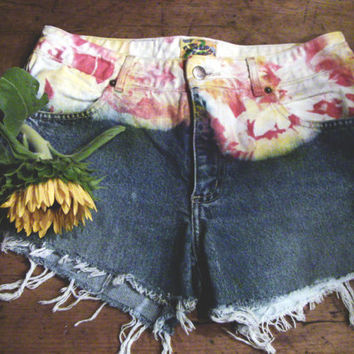 Unraveled, Red/Yellow Tie Dyed, Highwaisted, Jean Shorts