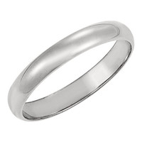 Men's 10K White Gold 4mm Traditional Plain Wedding Band (Available Ring Sizes 7-12 1/2)