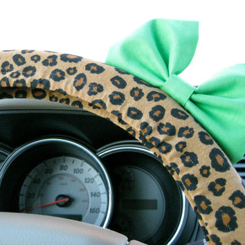 The Original Cheetah Steering Wheel Cover with Matching Minty Lime Green Bow