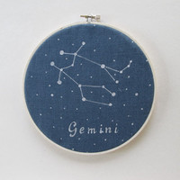 Hoop Art , Zodiac constellations, Gemini, Hand painted, Astrology, Constellations