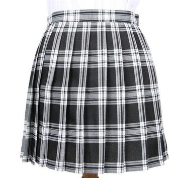 PEAPYV3 Winter Wool Umbrella A Line Vintage Plaid Skirt Pleated Tartan Skirts Women's Woolen Kilt Student skirts