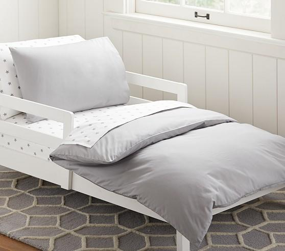 Organic Cotton Toddler Duvet Cover Gray From Pottery Barn