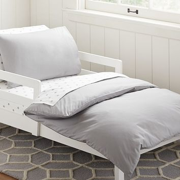 Organic Cotton Toddler Duvet Cover, Gray | Pottery Barn Kids