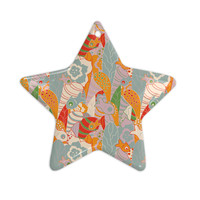 "Akwaflorell ""Fishes Here, Fishes There 2"" Multicolor Ceramic Star Ornament"