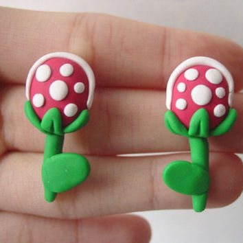 Super Mario Piranha Plant Earrings by SimplyEncharming on Etsy
