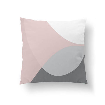 Modern Decor, Cushion Cover, Simple Decor, Home Decor, Geometric Textures, Decorative Pillow, Pink Gray Pattern, Throw Pillow, Pastel Colors