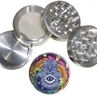 Hamsa Design Medium Size 4pcs Aluminum Herbal or Tobacco Grinder # G123114-0010