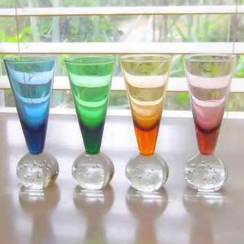 Fluted Crystal Large Shot or Cordial Glasses With Bubble Base by Home Essentials and Beyond