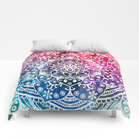 Namaste Red Purple Blue Mandala Comforters by Inspired Images