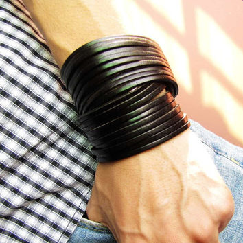 Jewelry Bangle Black Leather Bracelet Women Leather Cuff Bracelet Men Leather Bracelet Cuff  1373A