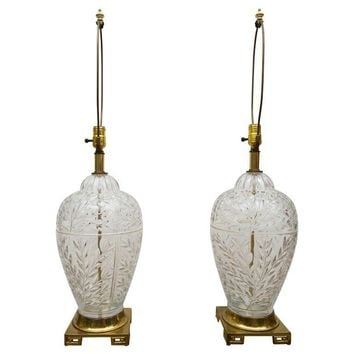 Pre-owned Mid-Century Glass & Brass Ginger Jar Lamps - Pair