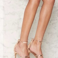 Nasty Gal In for the Thrill Strappy Heel - Rose Gold Metallic
