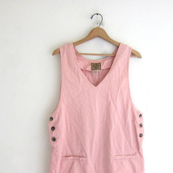 20% OFF SALE Vintage pink cotton dress / Bib Overalls Jumper / mini dress / women's size M