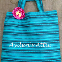 Aqua and grey striped fabric tote with coordinating flower brooch pin/ hair clip. Library bag. Reusuable grocery bag. Teacher gift.
