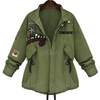 Army Green Embroidered Long Sleeve Trench Coat with Zipper