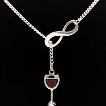 Infinity Wine Glass Red Wine Theme Gift Bridal Wedding Y Lariat Style Necklace