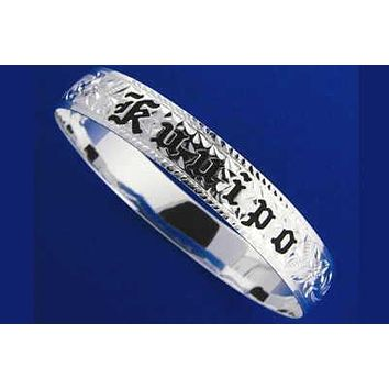 SILVER 925 HAWAIIAN BANGLE BRACELET BLACK ENAMEL KUUIPO SCROLL SMOOTH EDGE 10MM