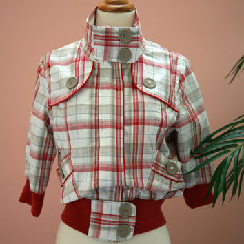 Red, White and Tan Checkered Large Button Detailed Cropped Jacket Size Medium