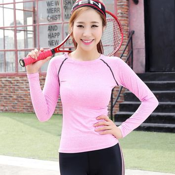 Womens Long Sleeve Running Yoga Shirts Ladies Compression Top Under Base Layer Jerseys Sportswear Sports Shirts AS283