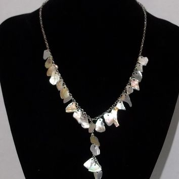 Vintage Mother of Pearl Shell Silver Tone Necklace