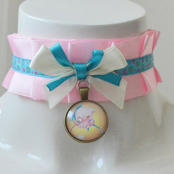 Kitten play collar - Little Mew - ddlg satin princess choker with bow and pokemon pendant - kawaii cute fairy kei blue and pink