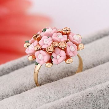 Atreus Fashion Wedding Rings Jewelry Bague Femme Pink Flower Rings For Women Summer Style 7Colors Ceramic Flower Anillos Mujer