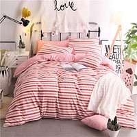 Trendy Red Stripe Pattern Polyester Soft Bedding Set 4pc/3pc Bedlinen Duvet Cover Set Sheets Pillowcase Single Queen King Size