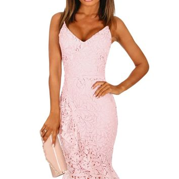 Pink Crochet Frill Midi Dress
