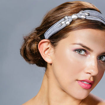 Silver headband, metallic headband, turban twist, silver beaded headband