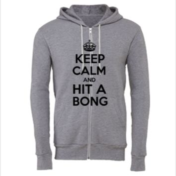 Keep Calm and Hit a Bong - Unisex Full-Zip Hoodie