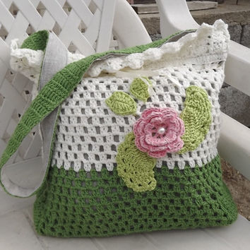Beige crochet bag, Crocheted bag, Crocheted shoulder bag, crocheted casual bag, handmade bag