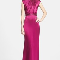 Women's St. John Collection Embellished Liquid Satin Gown with Train