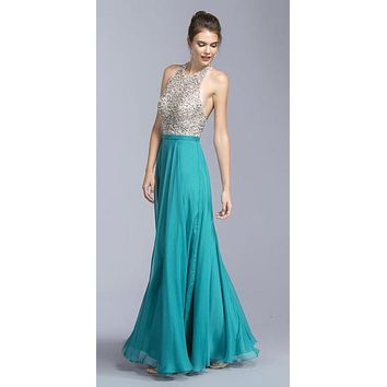 CLEARANCE - Teal A-line Long Formal Dress Halter Open-Back (Size XXS)