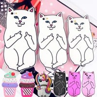 For iPhone 4s/ 5 5s/ SE/ 6 6s 7 8/ 6 Plus 6s Plus 7 Plus 8Plus Pocket Cat Unicorn Silicone Rubber Cell Phone Cases Covers