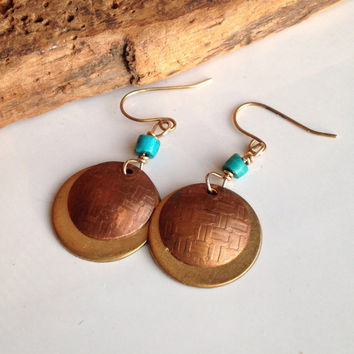 Etsy, Etsy Jewelry, Copper and Brass Disc Earrings, Dangle Earrings, Turquoise, Boho Earrings, Bohemian Earrings