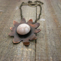 Wabi Sabi flower necklace fossilized coral stone by CopperTreeArt
