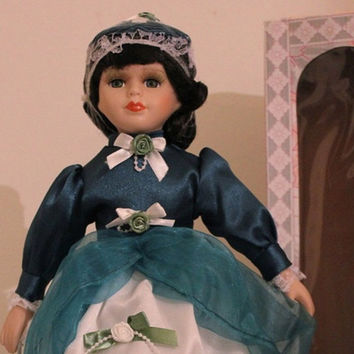"Minda, Brunette Porcelain Doll, 16"" Vintage Limited Edition Victorian Rose Collection, Blue Teal Dress with Stand."