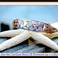 Men's Artisan Save The Sea Turtles Adjustable Leather ID Style Bracelet