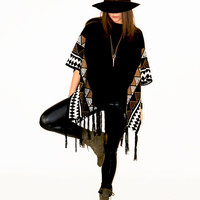 Elliptical Patterns Fringe Sweater Poncho